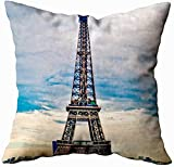 sodnz Pillow Cover Paris Hermosa Torre Eiffel Fundas De Colchón Hostal Decorativo Throw Pillowcase Hospital Living Room 45X45Cm Escuela Vacaciones Hogar Sofá Personalizado