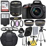 Nikon D3500 DSLR Camera with AF-P DX NIKKOR 18-55mm f/3.5-5.6G VR Lens + 32GB Card, Flash, Tripod, and Accessory Bundle