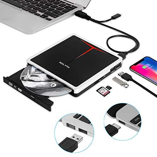 External DVD Drive,USB 3.0/USB-C Portable CD DVD+/-RW Burner Drive Slim CD ROM Reader Player Disk Rewriter for Laptop Mac Desktop PC Windows, with SD/TF Slot and 2 USB3.0 Ports