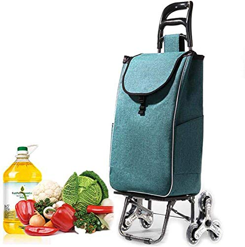 Carrito de compras ligero de 6 ruedas Carrito para subir escaleras con ruedas giratorias y bolsa extraíble de lona impermeable y extraíble Carrito de supermercado doméstico 90 kg de capacidad/bl