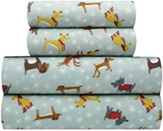 Its A Doggy Day Queen Flannel Sheet Set, 1-Flat Sheet 90 x 102, 1-Fitted Sheet 60 x 80, 2-Standard Pillowcases 21 x 30