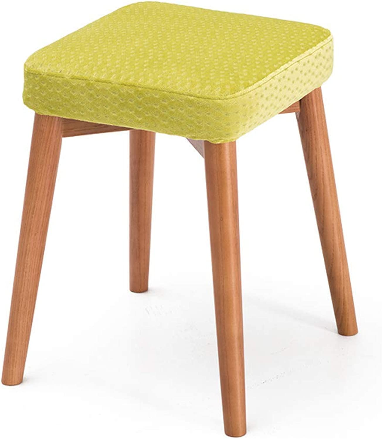 Carl Artbay Solid Wooden Dining Stool Square Stool Can Be Stacked Stool Creative Fashion Dressing Stool Cloth Art Dining Table Stool Family Small Bench 1 Strong and Practical