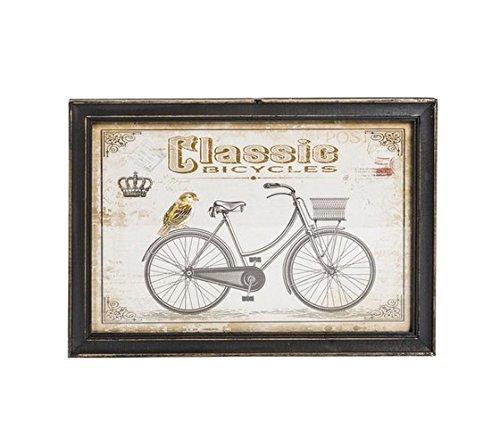 MAXIOCCASIONI Cadre déco rectangulaire, Cadre en Bois Marron, Vintage, Style Shabby Chic, Bike