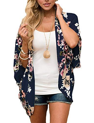 Omoone Damen-Kimono mit Fledermausärmeln und floralem Chiffon-Cardigan - Blau - Mittel