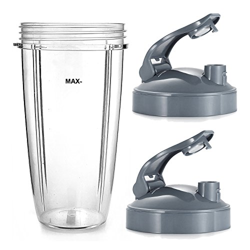 ELEFOCUS 2 X Flip Top Lid To Go with Colossal 32 oz Tall Oversized Cup for Nutribullet 600w 900w
