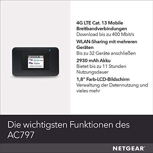 Netgear AC797 Mobiler 4G LTE Router & WLAN Router   AirCard mit bis zu 400 MBit/s Downloads   LTE Cat 13 Hotspot bis 32 Geräte   WiFi überall einrichten   für jede SIM-Karte freigeschaltet