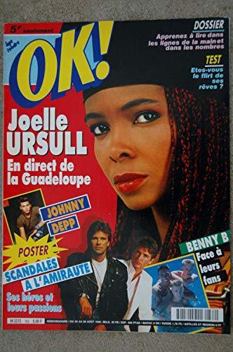 OK ! âge tendre 762 AOUT 1990 COVER JOELLE URSULL POSTER JOHNNY DEPP BENNY B MADONNA A LA PLAGE