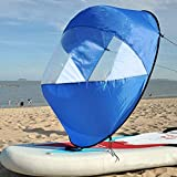 J&C Kayak Sail Foldable Kayak Wind Sail with Window for Canoe Inflatables Boats Kayak Covers (Blue)