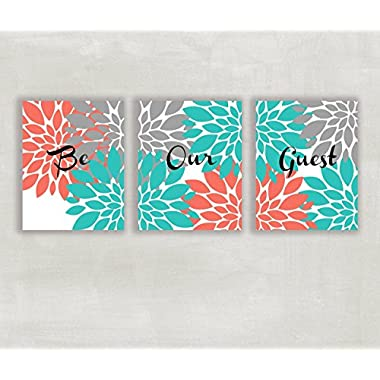 Be Our Guest Floral Wall Art in Coral Gray and Turquoise 8x10 Prints ((UNFRAMED))