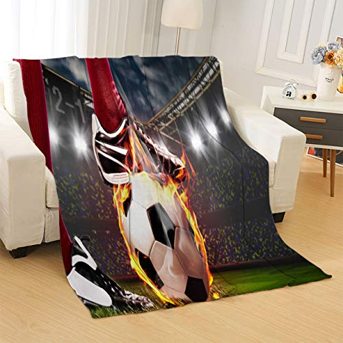 Vikes Soccer Blankets Soft All Seasons Throw Blankets Legs of Soccer Or Football Player Throw Blanket for Bed,Couch,car,Office,Camping Travel and Gifts,Queen Size: 80Wx90L Inch