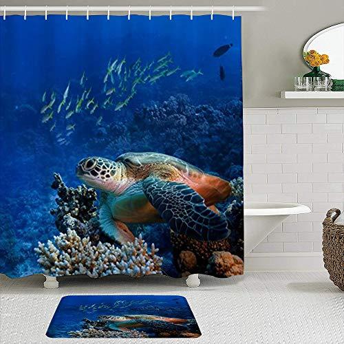 ZELXXXDA Duschvorhang-Sets mit rutschfesten Teppichen,Ozean Tiere Meeresschildkröten mit Fischen Ko, Badematte + Duschvorhang mit 12 Haken