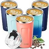 Amazon Brand - Eono Termo Cafe para Llevar 380 ml, Vaso Termico Cafe para Bebidas Frías y Calientes, Reutilizable Taza Termo...