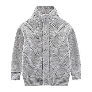 Motteecity Boys Clothes Solid Stand Collar Woollen Warm Sweater Cardigan