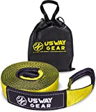 USWAY GEAR 3' x 30ft Recovery Tow Strap - 30.000 LBS (15 US TON) Rated Capacity Heavy Duty Tow Strap with Triple