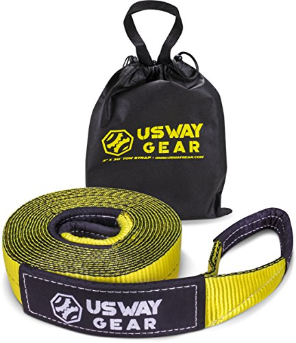 USWAY GEAR 3' x 30ft Recovery Tow Strap - 30.000 LBS (15 US TON) Rated Capacity Heavy Duty Tow Strap with Triple Reinforced Loops + Protective Sleeves + Free Storage Bag | Emergency Towing Rope