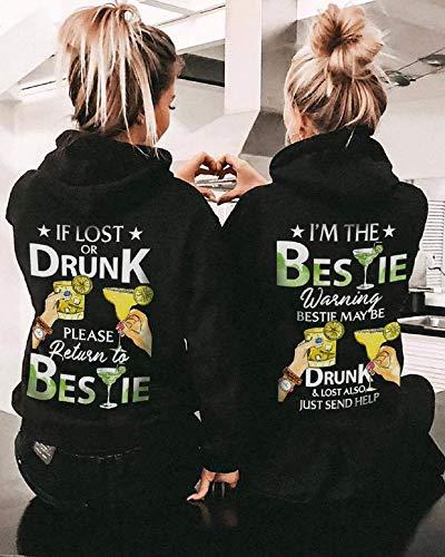 Best Friends Couple shirt If lost or drunk I'm the bestie Shirt Bff Shirts Matching Shirts best friend Unisex T-Shirt Short-Sleeve Hoodie Sweatshirt Long-Sleeve V-Neck Tank Men Women Tee Gifts