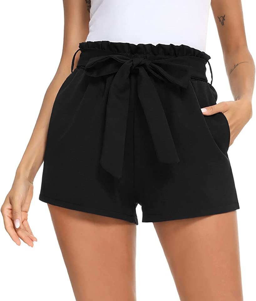 Kurze Hose Damen Sommer Hohe Taille Einfarbig Shorts mit Bindergürtel