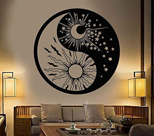 Calcomanías de pared para el hogar, sala de estar, dormitorio, decoración, símbolo de yin y yang, sol, luna, estrella budista, día y noche, pegatina mural A7 57x57cm