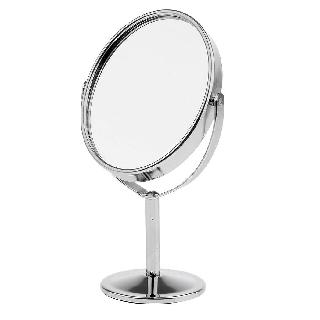 ブロー議題動Homyl メイクアップミラー テーブルミラー 化粧鏡 両面 拡大鏡 ミラー 楕円 スタンド 360度回転 便利 プレゼント メイクアップ 2色選べる - 銀