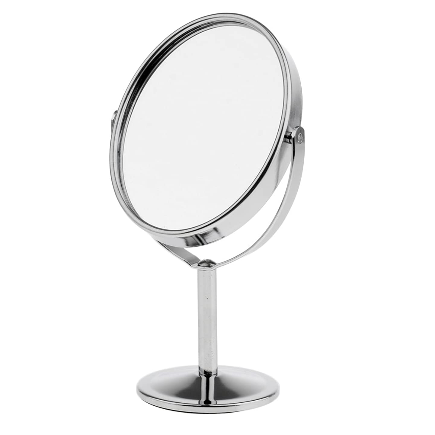 コンピューターディレイ上記の頭と肩Homyl メイクアップミラー テーブルミラー 化粧鏡 両面 拡大鏡 ミラー 楕円 スタンド 360度回転 便利 プレゼント メイクアップ 2色選べる - 銀