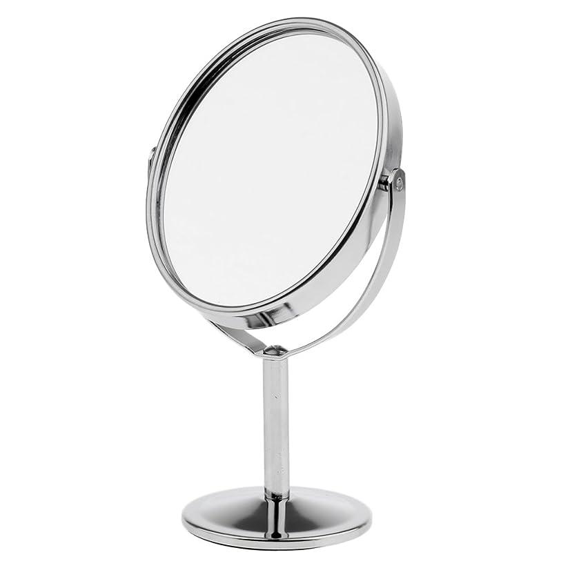 正義岩放射性Homyl メイクアップミラー テーブルミラー 化粧鏡 両面 拡大鏡 ミラー 楕円 スタンド 360度回転 便利 プレゼント メイクアップ 2色選べる - 銀