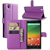 ZTE Zmax Z970 Case, Fettion Premium PU Leather Wallet Flip Phone Protective Case Cover with Card Slots and Magnetic Closure for ZTE ZMAX Z970 Smartphone (Purple)