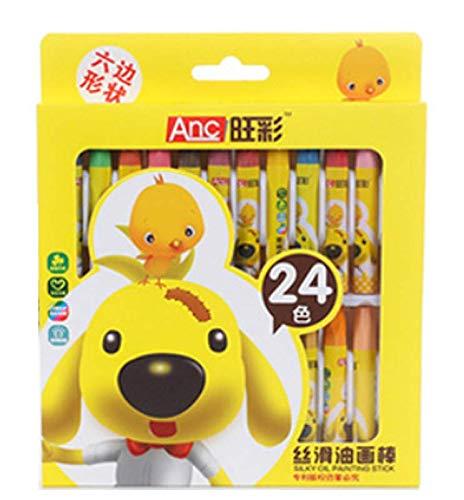 Children Kids Crayon Set, Silky Oil Hexagon Painting Sticks Non-Toxic Set of 12/18/24 Colors (24)