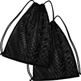 Mesh Drawstring Backpack Bag Multifunction Mesh Bag for Swimming, Gym, Clothes (Black)