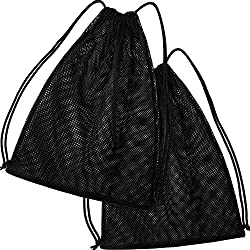 professional Mesh drawstring backpack bag Multi-functional mesh bag for swimming, gym and clothing (black)