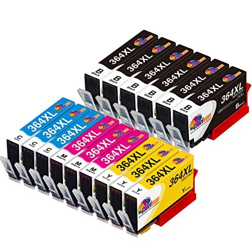 Clorisun 364 XL Cartucce d'inchiostro per HP 364 364XL per HP Photosmart 5520 B110A B209C C6380 6520 B110C B210A B109N 7510 B8550 D5460 B109A HP Officejet 4620 4622 HP Deskjet 3070A 3520 (15 Pezzi)