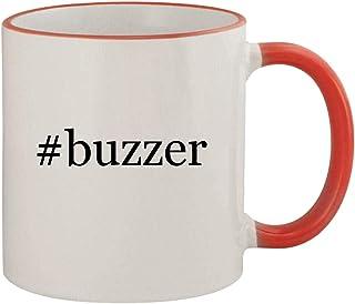 #buzzer - 11oz Ceramic Colored Rim & Handle Coffee Mug, Red