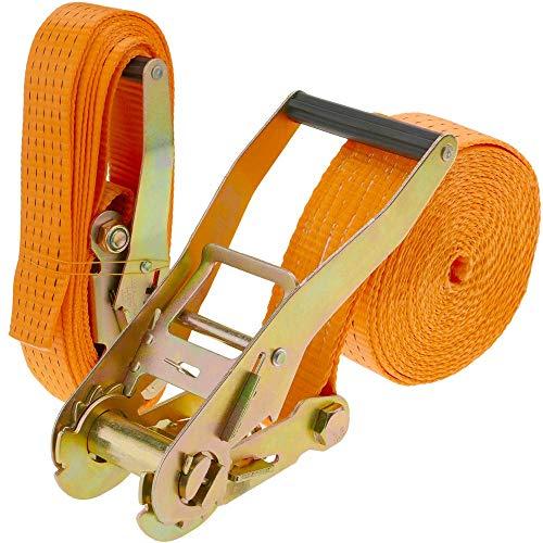 PrimeMatik - Spanngurt mit Ratsche 50 mm x 10 m 5000 kg orange (Pack 2)