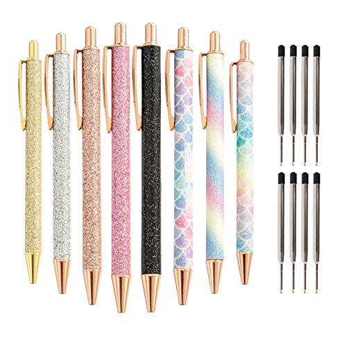 SNOWINSPRING Lote de 8 bolígrafos con purpurina, color oro rosa, metálicos, retráctiles, tinta negra, punta mediana