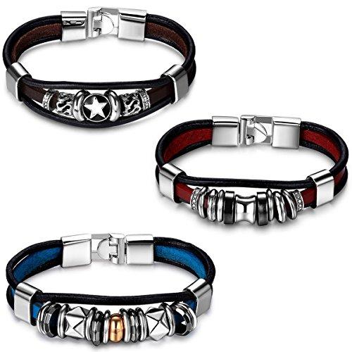 Aroncent 3PCS Herren Damen Armband, Punk Rock Gotik Fünfzackigen Pentagramm Stern Ring Beads Kugeln Armreif Manschette, Leder Legierung, Schwarz Braun Blau