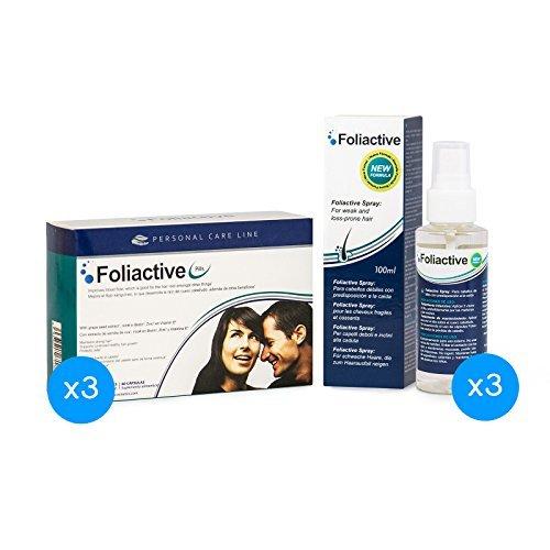 Caída del cabello - 3 Foliactive Pills + 3 Foliactive Spray: Pastillas y Spray para detener la caída del cabello