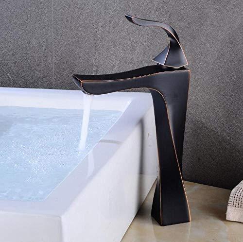 Keukenkraan, zwart bassin kraan brons messing badkamer kraan enkele handvat warm en koud bad wastafel kraan A19