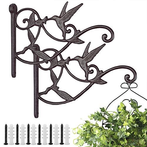 Livfodrm Blumenhalter Wand Metall Antik Pflanzenhaken für Blumentopf Innen/Draußen Pflanzen Hängend Blumenhalterung Gartenhaken für Laterne, 2er-Pack
