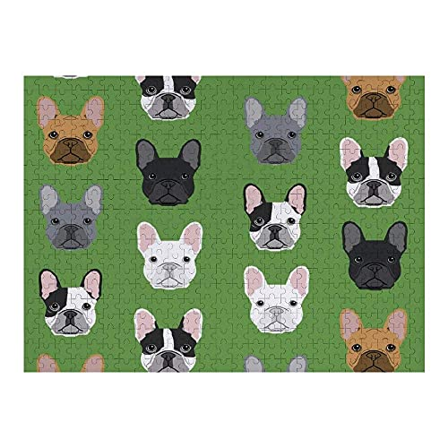 Jigsaw Puzzle 500 Piece Green Frenchie Dog Funny Wooden Puzzle Home Decoration for Living Room Bedroom Kitchen Office