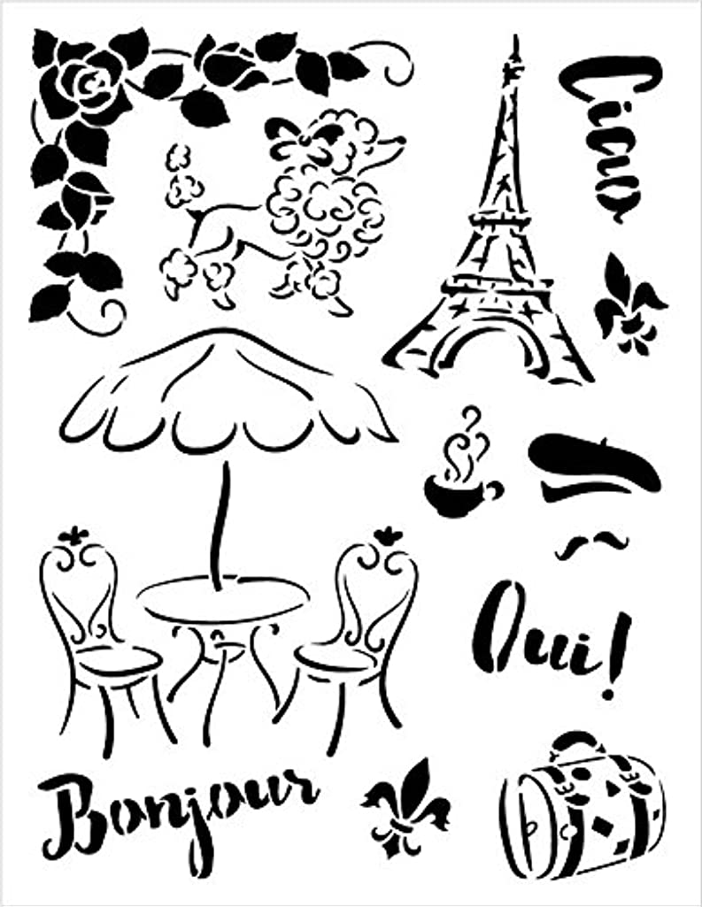 Jadore Paris Stencil by StudioR12   French Travel Art Elements - Medium 8.5 x 11-inch Reusable Mylar Template   Painting, Chalk, Mixed Media   Use for Crafting, DIY Home Decor - STCL1042_1