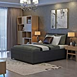 <span class='highlight'><span class='highlight'>PANANASTORE</span></span> 4FT6 Gaslift Linen Fabric Wood Bed Frame with Storage Ottoman Double Bed for Adults Children Teenagers Grey