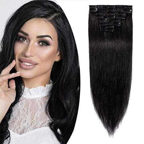 18 (45cm) SEGO Extensiones de Clip de Pelo Natural 8PCS [#1 Negro Intenso] Cabello Humano Postizos Pelucas 100% Remy Human Hair (70g)