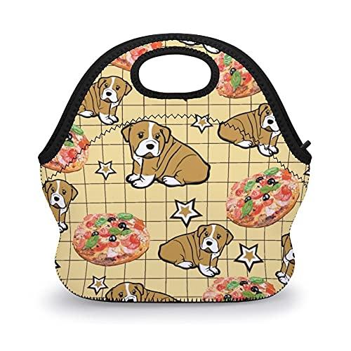 Bolsas de almuerzo reutilizables con diseño de pizza para perros, bolsas de almuerzo con aislamiento de aperitivos para niños y mujeres, bolsa de trabajo escolar