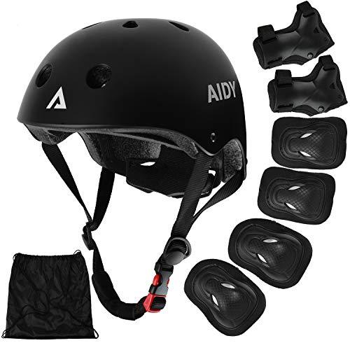 AIDY Kinder Knieschoner Schützer Inliner Protektoren Skate Helmet Knie Pads Elbow Pads mit Handgelenkschoner für Skate Skateboard Roller Skate Bike und Anderen Extreme Sports(schwarz)