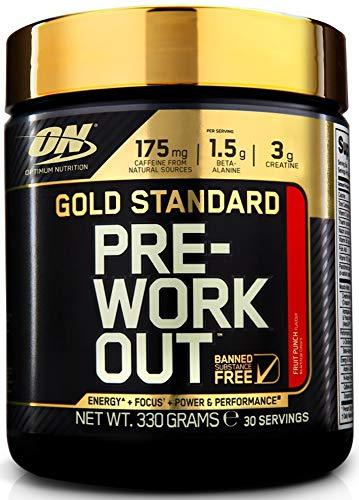 Optimum Nutrition Gold Standard Pre Workout, Booster de Pré-Entraînement avec Creatine Monohydrate, Bêta-Alanine, Cafeine et Vitamine B Complex, Cocktail de Fruits, 30 Portions, 330 g