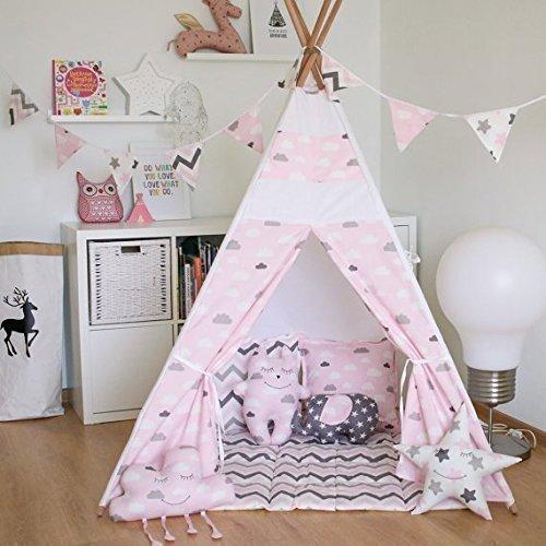 Kids Teepee Tent with 4 Poles,Play Tent,Kids Teepee