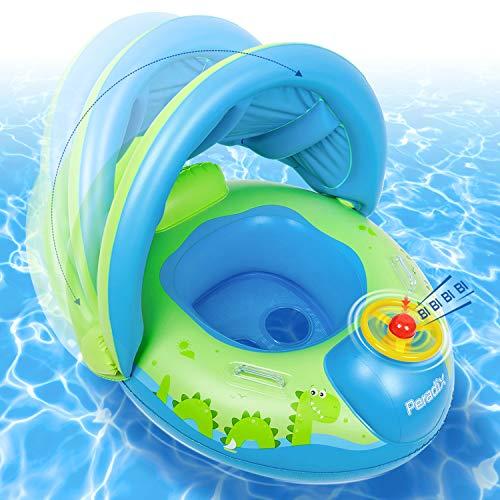 Peradix Baby Schwimmring, Baby Schwimmen Schwimmtrainer mit abnehmbarem Sonnendach, Kinderboot Schwimmer Schwimmreifen mit Sonnenschutz für Kinder