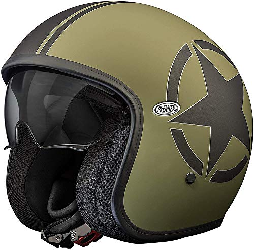 Premier Casco Vintage Star Military Bm,Verde Militare/Nero,L