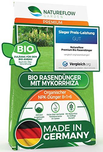 TESTSIEGER Premium Bio Rasendünger 20kg mit Mykorrhiza aus Deutschland – 100{3ff9c524908beb01706d67a5d15d859d24b654bed86dca816c35bf53d465f243} Pflanzlich - Organischer Dünger NPK 8+1+6 - Rasen Dünger für Dichten und Gesunden Traumrasen ohne Tierexkremente
