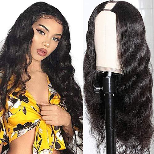 LEOSA Long Wavy U Part Wig Body Wave U Part Wigs for Black Women,Synthetic Curly U Part Wig Black Wavy Curly Loose Deep Wave Half Wigs None Lace Front Wig Glueless U Shape U Part Wig Clip in 24inch