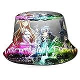 MIAOXXUAN Sword Art Online Bucket Hat Sombreros de pescador Unisex Impreso Doble Cara Bucket Sombreros Verano Moda Protector Solar Visera Plegable al Aire Libre Deporte Cap Niños Niño Negro